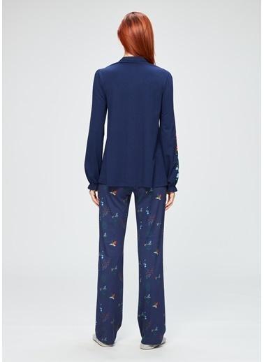 Dagi Nakışlı Gömlek Uzun Kollu Pijama Takımı Lacivert
